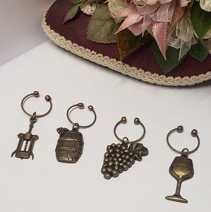 Unique Vintage Brass Wine Glass Charms